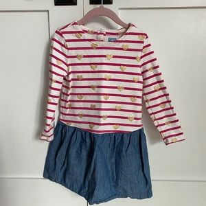 Gap striped dress with gold hearts